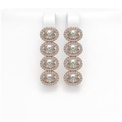 5.92 CTW Oval Diamond Designer Earrings 18K Rose Gold - REF-1094F9N - 42819