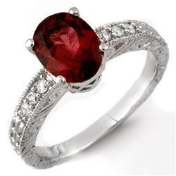 2.68 CTW Rubellite & Diamond Ring 14K White Gold - REF-70Y9K - 11272