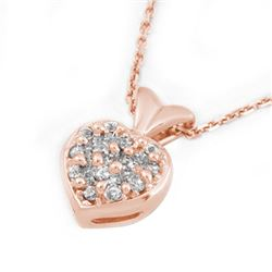 0.20 CTW Certified VS/SI Diamond Necklace 18K Rose Gold - REF-41F8N - 10132