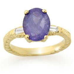 3.70 CTW Tanzanite & Diamond Ring 10K Yellow Gold - REF-105Y3K - 11679