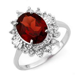 3.45 CTW Garnet & Diamond Ring 10K White Gold - REF-42H4A - 11686