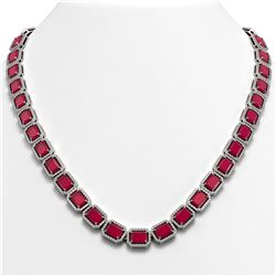 58.59 CTW Ruby & Diamond Halo Necklace 10K White Gold - REF-777T8M - 41333