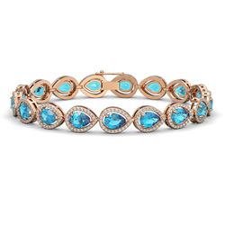 16.59 CTW Swiss Topaz & Diamond Halo Bracelet 10K Rose Gold - REF-276H8A - 41124