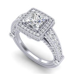 2.53 CTW Princess VS/SI Diamond Solitaire Art Deco Ring 18K White Gold - REF-509W3F - 37124