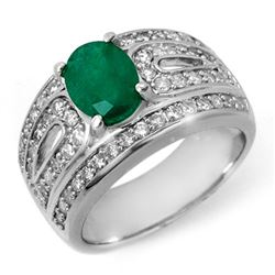 2.44 CTW Emerald & Diamond Ring 18K White Gold - REF-152Y8K - 11824