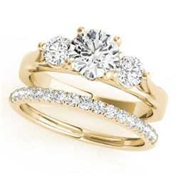 1.92 CTW Certified VS/SI Diamond 3 Stone 2Pc Wedding Set 14K Yellow Gold - REF-430W2F - 32035