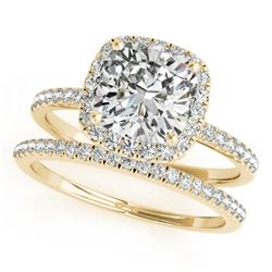 0.93 CTW Certified VS/SI Cushion Diamond 2Pc Set Solitaire Halo 14K Yellow Gold - REF-142W8F - 31399
