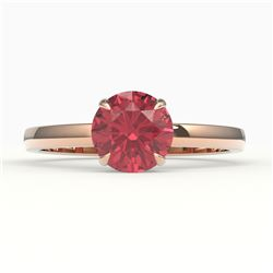 2 CTW Pink Tourmaline Designer Inspired Solitaire Engagement Ring 14K Rose Gold - REF-33W6F - 22235
