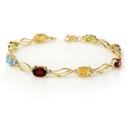 8.02 CTW Multi-Sapphire & Diamond Bracelet 10K Yellow Gold - REF-45A6X - 10819