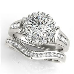 1.56 CTW Certified VS/SI Diamond 2Pc Wedding Set Solitaire Halo 14K White Gold - REF-182F4N - 31244