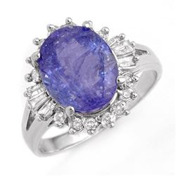4.06 CTW Tanzanite & Diamond Ring 18K White Gold - REF-113Y6K - 14175