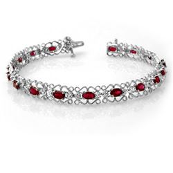 4.22 CTW Ruby & Diamond Bracelet 14K White Gold - REF-86T9M - 13621