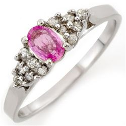 0.74 CTW Pink Sapphire & Diamond Ring 18K White Gold - REF-27H3A - 10291