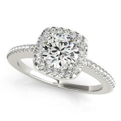 0.75 CTW Certified VS/SI Diamond Solitaire Halo Ring 18K White Gold - REF-124T8M - 26596