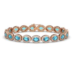 14.82 CTW Swiss Topaz & Diamond Halo Bracelet 10K Rose Gold - REF-230K4W - 40485
