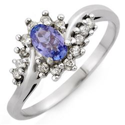 0.55 CTW Tanzanite & Diamond Ring 18K White Gold - REF-38H5A - 10324
