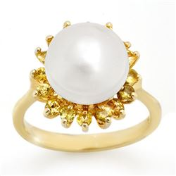 0.75 CTW Yellow Sapphire & Pearl Ring 10K Yellow Gold - REF-27K5W - 10529