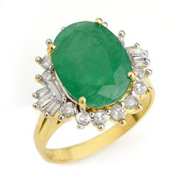 5.98 CTW Emerald & Diamond Ring 14K Yellow Gold - REF-141F8N - 12951