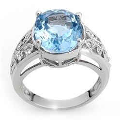 7.15 CTW Blue Topaz & Diamond Ring 10K White Gold - REF-38T5M - 10336