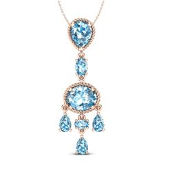 8 CTW Sky Blue Topaz Necklace Designer Vintage 10K Rose Gold - REF-34F4N - 20395