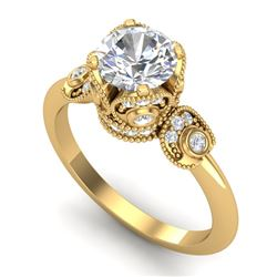 1.75 CTW VS/SI Diamond Art Deco Ring 18K Yellow Gold - REF-398T2M - 36856