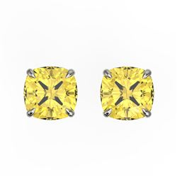 3 CTW Cushion Cut Citrine Designer Solitaire Stud Earrings 18K White Gold - REF-29H3A - 21738