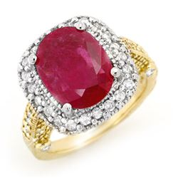 9.40 CTW Ruby & Diamond Ring 14K 2-Tone Gold - REF-180M2H - 13444