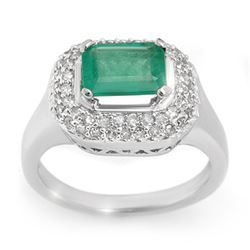 1.90 CTW Emerald & Diamond Ring 14K White Gold - REF-55W8F - 10620
