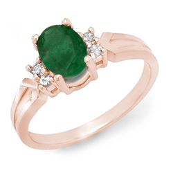 0.87 CTW Emerald & Diamond Ring 14K Rose Gold - REF-25A3X - 12525