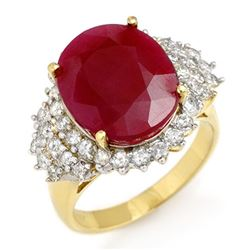 8.32 CTW Ruby & Diamond Ring 14K Yellow Gold - REF-170W2F - 12851