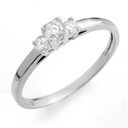 0.33 CTW Certified VS/SI Diamond 3-Stone Ring 14K White Gold - REF-29W3F - 10171