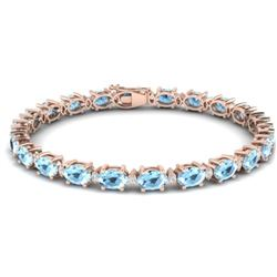 15.9 CTW Aquamarine & VS/SI Certified Diamond Eternity Bracelet 10K Rose Gold - REF-165N3Y - 29361
