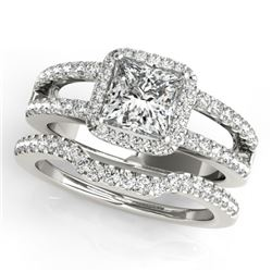 1.51 CTW Certified VS/SI Princess Diamond 2Pc Set Solitaire Halo 14K White Gold - REF-252W5F - 31346