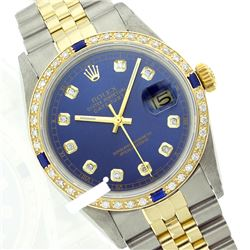 Rolex Ladies Two Tone 14K Gold/ss, Diam Dial & Diam/Sapphire Bezel, Sapphire Crystal - REF-434A7N