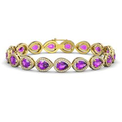 16.76 CTW Amethyst & Diamond Halo Bracelet 10K Yellow Gold - REF-274N4Y - 41131