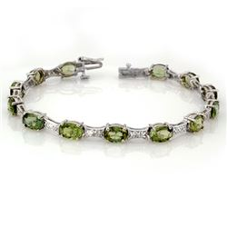 12.04 CTW Green Tourmaline & Diamond Bracelet 10K White Gold - REF-131A6X - 11503