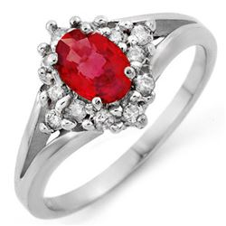 0.90 CTW Red Sapphire & Diamond Ring 10K White Gold - REF-33M3H - 10571