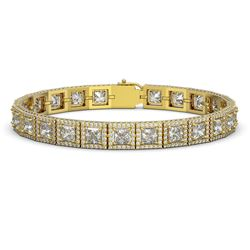 18.24 CTW Princess Diamond Designer Bracelet 18K Yellow Gold - REF-3369K8W - 42727