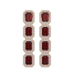 12.73 CTW Garnet & Diamond Halo Earrings 10K Rose Gold - REF-146A9X - 41472