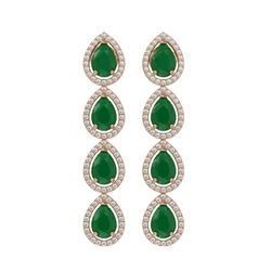 10.2 CTW Emerald & Diamond Halo Earrings 10K Rose Gold - REF-155K5W - 41139