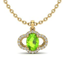 1.75 CTW Peridot & Micro Pave VS/SI Diamond Necklace 10K Yellow Gold - REF-33T5M - 20638