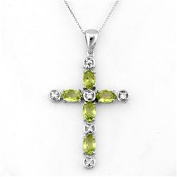 2.15 CTW Peridot & Diamond Necklace 10K White Gold - REF-33W6F - 11113