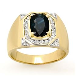 3.10 CTW Blue Sapphire & Diamond Men's Ring 14K Yellow Gold - REF-104X5T - 13482