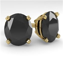 18.0 CTW Oval Black Diamond Stud Designer Earrings 14K Yellow Gold - REF-364T5M - 38402