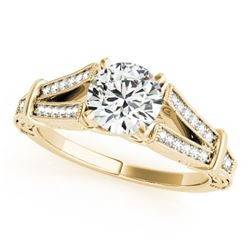 0.75 CTW Certified VS/SI Diamond Solitaire Antique Ring 18K Yellow Gold - REF-137Y3K - 27290