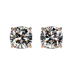 1 CTW Certified VS/SI Quality Cushion Cut Diamond Stud Earrings 10K Rose Gold - REF-147X2T - 33067