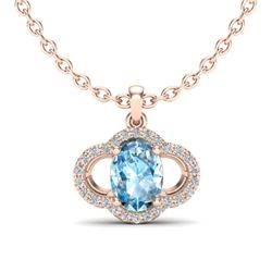 2 CTW Sky Blue Topaz & Micro Pave VS/SI Diamond Necklace 10K Rose Gold - REF-30F2N - 20624