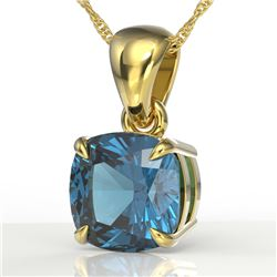 1.50 CTW Cushion Cut London Blue Topaz Designer Necklace 18K Yellow Gold - REF-25X5T - 21950