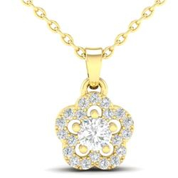 0.28 CTW VS/SI Diamond Micro Pave VS/SI Diamond Necklace Moon Halo 10K Yellow Gold - REF-23H8A - 213