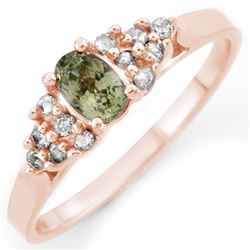 0.74 CTW Green Sapphire & Diamond Ring 14K Rose Gold - REF-28N2Y - 10392